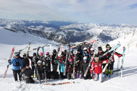 The Eastern Township's elite downhill ski team at the summit of the Hintertux glacier